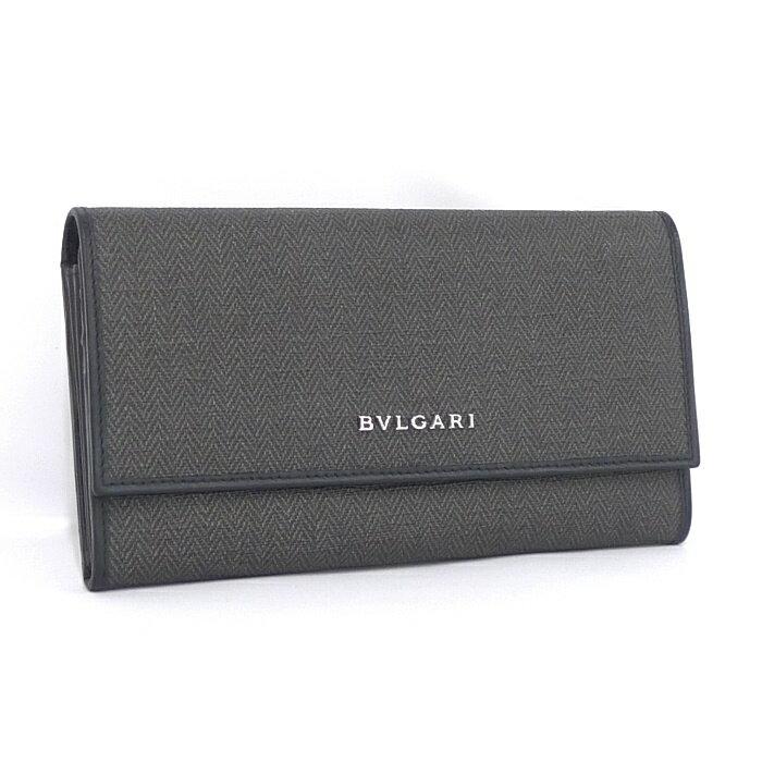 bd474e254fee BVLGARI ブルガリ 二つ折り長財布 ウィークエンド PVCキャンバス×レザー ブラック×グレー 32585  【*80511*hmn】:サカイのリサイクルショップ