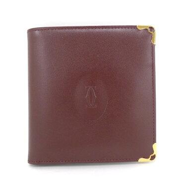 【中古】【美品】Cartier マストライン レザー 二つ折り財布 ボルドー ゴールド金具 L3000451