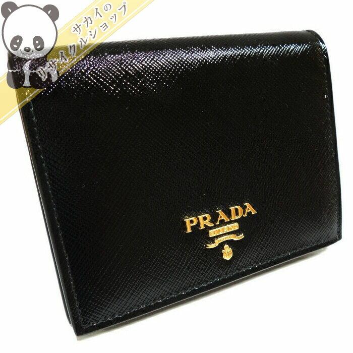 6e29783f9678 【】【未使用】PRADA 二つ折り財布 パテントレザー ブラック 1MV204 プラダ