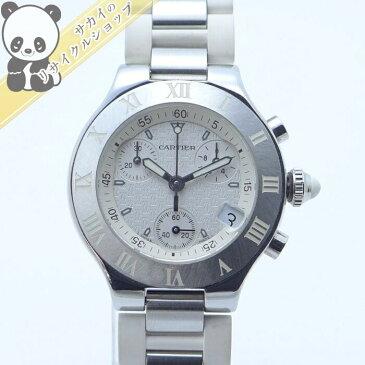 【中古】Cartier レディース腕時計 マスト21 クロノスカフSM クオーツ SS/ラバー ホワイト文字盤 W10197U2