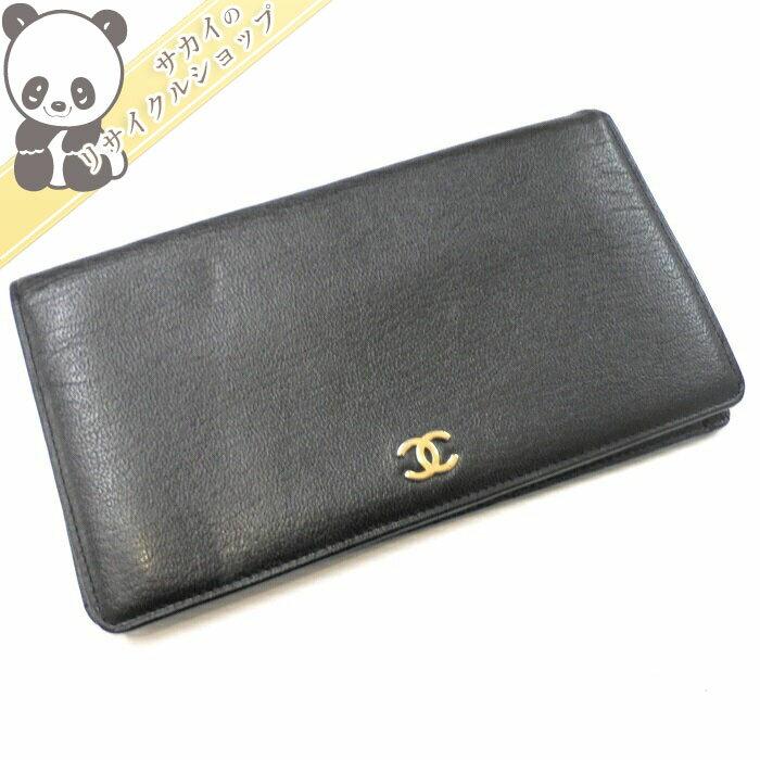 newest 4eb98 e35c1 CHANEL 二つ折り長財布 オンライン ココマーク レザー ブラック ...