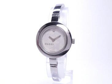 【中古】GUCCI 1Pダイヤ フラワー バングルウォッチ レディース腕時計 クォーツ SS シルバー文字盤 105 YA105508