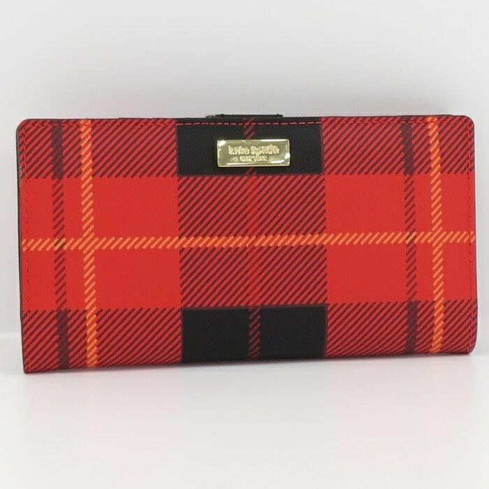 Kate Spade Bi-Fold Long Wallet Card Case Razor Plaid Red Syste _70256