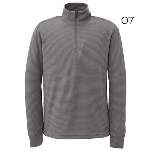 ・ブレスサーモ ミニボーダージップネックシャツ