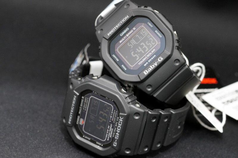 【あす楽】国内正規品 CASIO ペアーウォッチ「オールブラック」G-SHOCK&BABY-G【電波ソーラー】デジタルモデル 角型モデル 二人の絆を確かめ合える腕時計【プレゼントに最適】【カップル】【2本ペア】文字刻印で世界に1つだけのペアウォッチ【GW-M5610-1BJF&BGD-5000MD-1JF】