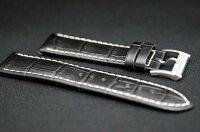 正規品ハミルトン純正ベルトバリアントオート用ブラックカーフホワイトステッチ純正ストラップ取付20mm