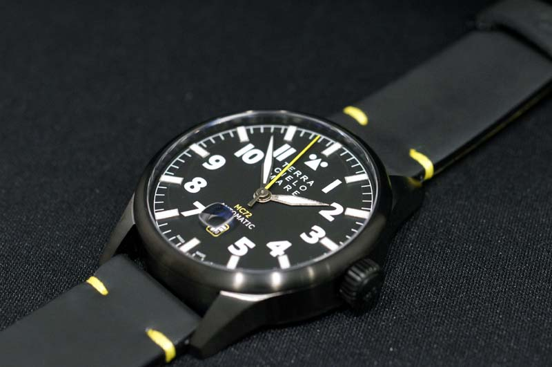 【あす楽】正規品 イタリア腕時計 「テッラ・チエロ・マーレ」TERRA CIELO MARE 「アヴィアトーレ マーク2トロピカーナ」AVIATORE ミリタリーブラックPVDケース44ミリ 自動巻