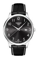 正規品TISSOTティソ「トラディショナル」42mm厚さ7.5ミリブラック文字盤ブラックカーフストラップT063.610.16.052.00超うす腕時計