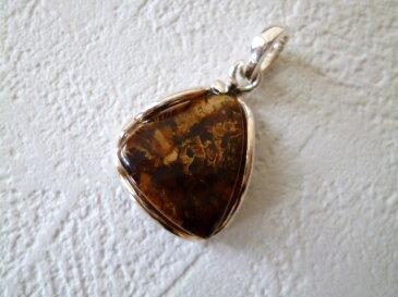 《ヨーロッパセレブ・テイスト》【トルコ雑貨】原石の独特な模様が他に無い上質《琥珀》のシルバーペンダントTOP【RCP】【02P11Apr15】