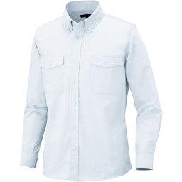 アイトス メンズ長袖オックスボタンダウンシャツ(両ポケットフラップ付き) ホワイト LL  〔品番:7880-001-LL〕[1436327]「送料別途見積り,法人・事業所限定,取寄」