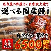 【本場愛知県産、静岡県産鰻のみ使用】活うなぎかば焼きor白焼き3本セット