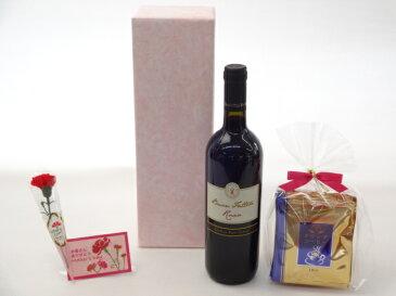 母の日 ギフトセット ワインセット 挽き立て珈琲(ドリップパック5パック)(ブォン・ファットーレ・ロッソ 赤(イタリア)750ml)母の日カード お母さんありがとうカーネイション