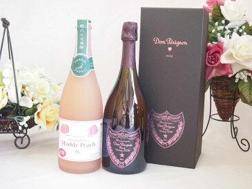 正規ピンクのドンペリと山梨県産マディデラウェア桃使用スパークリングワイン(やや甘口)750ml 2本セット