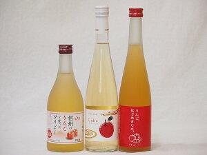 りんごのお酒特集3本セット 信州りんごフルーツワイン(長野県) Cider(京都府) りんご梅酒(福岡県)500ml×3