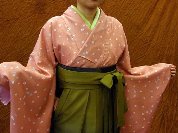 レンタルきもの ピンク小花小紋2尺袖