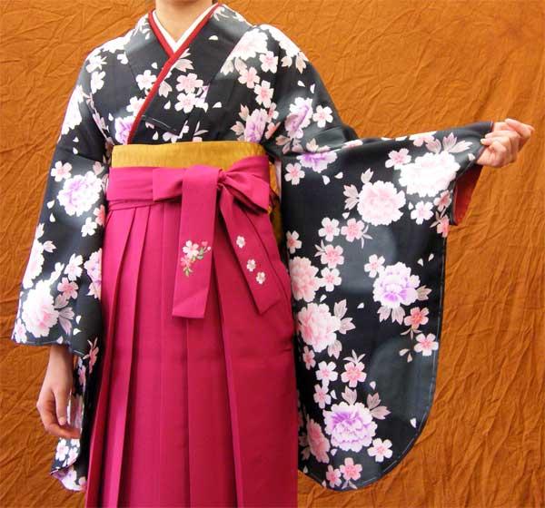 レンタルきもの 黒・花牡丹柄小紋2尺袖