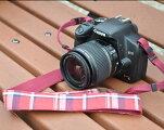カメラストラップチェック(ワインレッド)