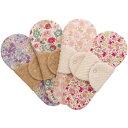 布ナプキン型 冷えとりライナー ヒエトリパット 《茶オーガニック・シルク綿》柄おまかせ 4枚セット