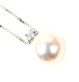 田崎真珠Pt900ダイヤパールネックレス【美品】【送料無料】
