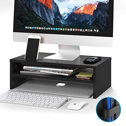 1homefurnit机上台木製モニター台パソコン台机上人間工学デザインキーボード収納プリンター台二段式長さ:420机上整理