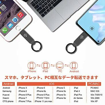 Puubar USBメモり iPhone フラッシュドライブ 4-in-1フラッシュメモリ 360度回転式 両面挿し iPhone/PC/Android/iPad対応 容量不足解消 パスワード保護 USB3.0 高速データ転送 亜鉛合金製 防塵 耐圧 耐衝撃 Type-C変換アダプター付属 日本語取扱説明書付き (128GB, ブラック)