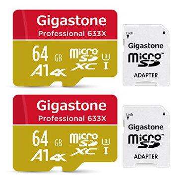 【5年保証 】Gigastone Micro SD Card 64GB マイクロSDカード UHS-I U3 Class 10 100MB/S 高速 micro sd カード Nintendo Switch 動作確認済 2個セット SD変換アダプタ付 ミニ収納ケース付 4K Ultra HD 動画
