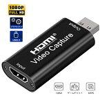 HDMI キャプチャーボード USB2.0 HD 1080P HDMI ゲームキャプチャー 軽量小型 電源不要 ビデオキャプチャカード ゲーム実況生配信 録画、実況、画面共有、医用撮像、ライブ会議に適用 Nintendo Switch、YouTube、Xbox One、OBS Studio対応 持ち運びに便利