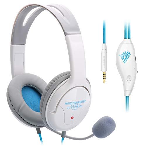エレコム モンスターハンターワールド:アイスボーン×エレコム 4極ヘッドセットマイクロフォン 両耳オーバーヘッド 1.0m PS4用 HS-MHW03WH画像