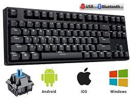 METIS メカニカルキーボード 機械式 ゲーミングキーボード 87キー Bluetooth 無線 USB 有線 青軸 防水 充電式 LEDバックライト オフィス/ゲーミング用 英語配列 日本語取扱説明書 (87キー, 黒色)