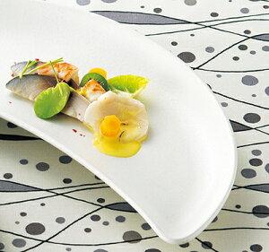 白フリー 31cm 前菜クレセント プラター日本製 美濃焼特殊な形 三日月形の変形皿オードブル 盛り合わせ パーティー おしゃれなおもてなしの食器