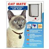 猫用ドア Cat Mate 254 マグネット ドア キャットフラップ Cat Flap ペットドア 外出制限 野良猫対策 マグネットキー2個 ネコ カラー:白 ホワイト