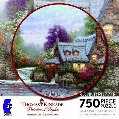 750ピース円型ジクソーパズル トーマス キンケード ペインター オブ ライト ミラーズ コテージ Ceaco Thomas Kinkade Round - The Miller's Cottage, Thomashire・お取寄
