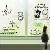 可愛い猫ちゃんが6匹、モノトーンが素敵な動物ウォールステッカー(子供部屋・寝室・キッズスペース・浴室・ガラス・リビング・楽しい・ファンシー・夢・明るい・可愛い・はがせる・DIY・簡単・プチリフォーム・ハート・猫・足跡・白黒)