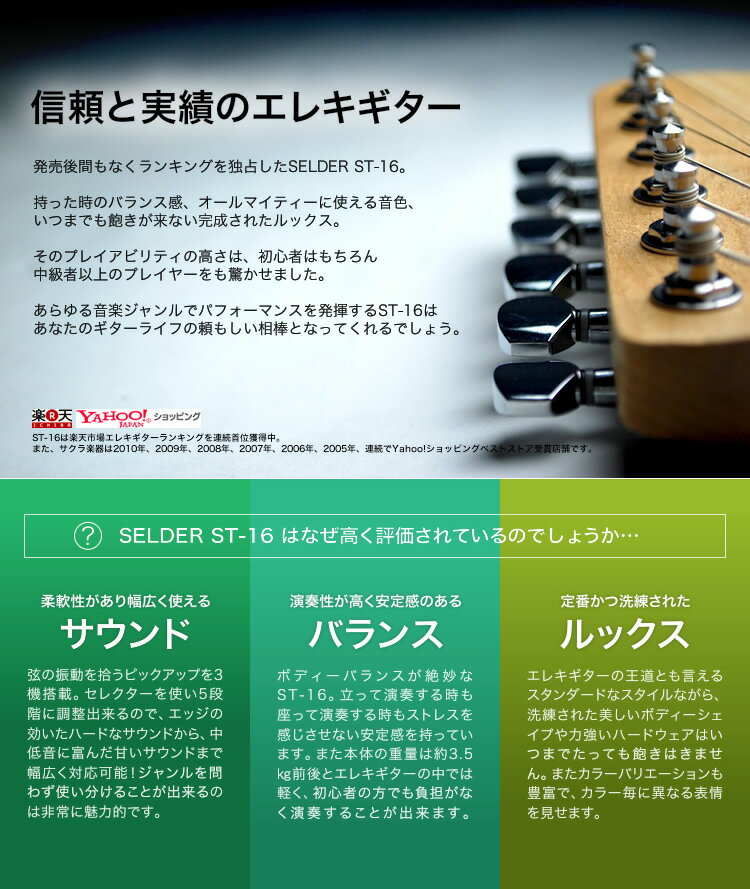 エレキギター SELDER ST-16 20点 初心者セット