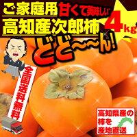 最高の食感甘くて美味しい次郎柿高知産4kg土佐の甘かき!ワケ有ではございません。(送料コミ商品と同梱で送料無料)約16〜24玉入りで4kg