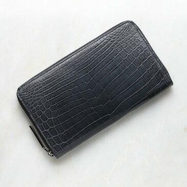 クロコダイル ワニ革 長財布 小銭入れあり スモークグレー ナイルクロコダイル メンズ 日本製 レザック LE'SAC 8139 正規取扱品 ラッピング無料 ギフト
