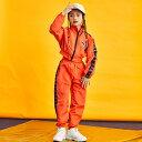 キッズ ダンス衣装 上下2点セット つなぎ風 ヒップホップ セットアップ ジャズ K-POP スポーツウェア スポーティー ウィンドブレーカー トレーニングウェア ロングパンツ ジャンパー ダンス大会 イベント レッスン カッコイイ Bガール お揃い 女の子 長ズボン 長袖 オレンジ