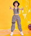キッズ ダンス衣装 上下セット ヒップホップ ジャズ K-POP セットアップ スポーツウェア かっこいい ブロックチェック ノースリーブ タンクトップ ロングパンツ Kポップ ダンス大会 イベント レッスン 練習着 Bガール 女の子 長ズボン ショート丈 トップス