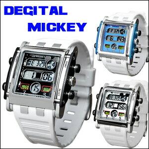 供供迪士尼手錶女士迪士尼手錶小孩人小孩使用的Disney米奇Disney米奇廣場數碼手錶全3色白橡膠皮帶隱藏米奇迪士尼Disney限定女性使用