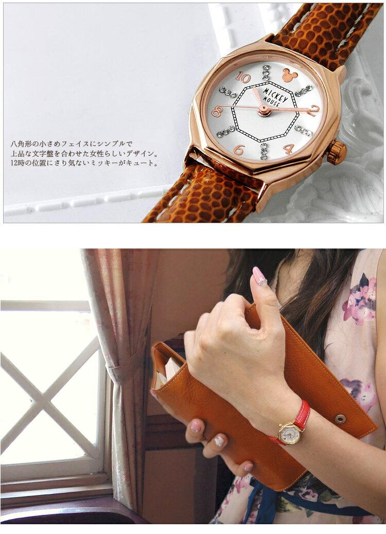 【1年保証有】腕時計 ディズニー レディース ミッキー 腕時計 スワロフスキー 時計 Disney 八角形 腕時計 女性用 LADYS キッズ 女性 レザーベルト 全4色 本牛革 ベルト 限定