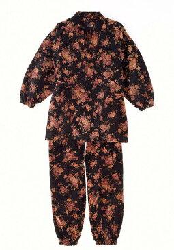 作務衣(さむえ)/小花柄 ベロア作務衣(M-L)/秋冬用/女性 婦人 レディース
