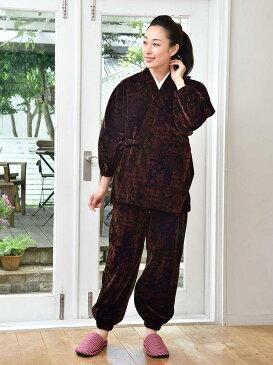 作務衣(さむえ)/幾何柄 ベロア作務衣(M-L)/秋冬用/女性 婦人 レディース