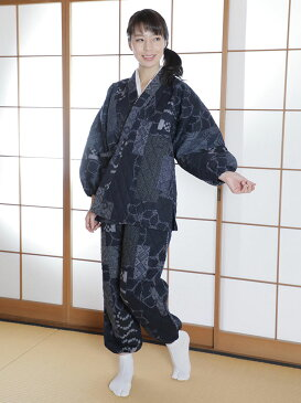 作務衣(さむえ)/古織柄キルト作務衣 紺(M-L)/日本製/秋冬用/女性 婦人 レディース