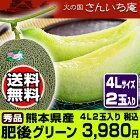 甘さ一番!肥後グリーンメロン4L2玉入送料無料です。