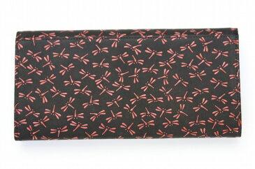印伝 印傳屋 上原勇七  (INDEN-YA) 本革 長財布(札入れ) ギャルソン 型番2314 黒地×赤漆 とんぼ柄 正規品 財布 日本製