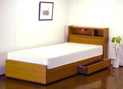 送料無料・代引不可日本製フレーム■棚照明引出付ベッド(マット付)A094