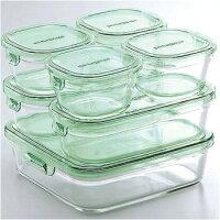 iwakiイワキパック&レンジガラス製保存容器耐熱ガラスシステムセット7点セットグリーンPST-PRN-G7