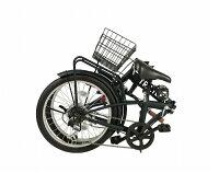 TRAILER20インチ折りたたみ自転車 6段変速カゴ/カギ/ライト付 ブラック色BGC-F20-BK