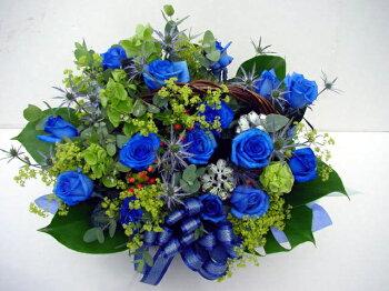 """青いバラ""""&グリーンアレンジメント10000"""
