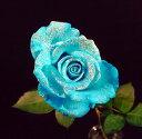 ラメ付きアイスブルー青バラ【本数指定で青バラ花束】(サプライズ 誕生日)【花】【楽ギフ_包装】【楽ギフ_メッセ入力】プレゼントに 青い薔薇 青いバラ  1本